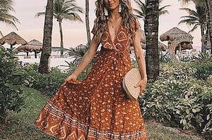 A model wearing the dress in tangerine