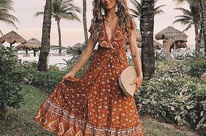 A model wearing the dress in tangerine