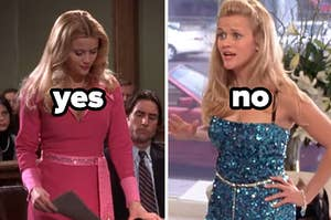 """elle woods in one outfit with the text """"yes"""" and elle woods in another outfit with the text """"no"""""""