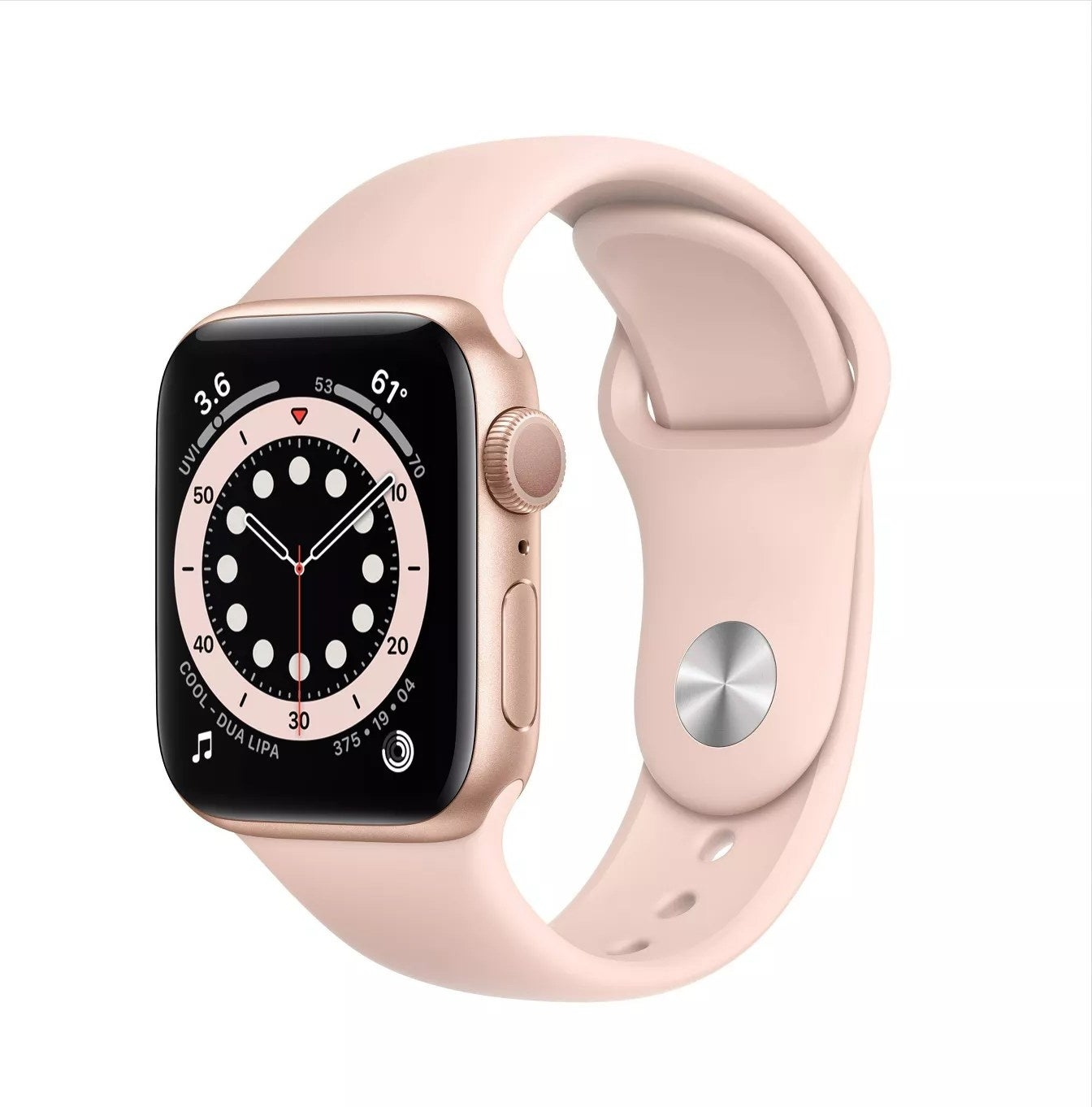 The pink Apple Watch with a touchscreen and matching strap