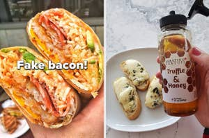 person holding a BLT wrap with vegan bacon in it, person holding a truffle honey bottle in front of bruschetta