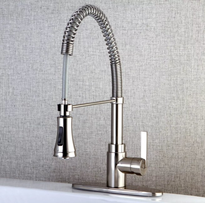 A rust-resistant, spiral pull-down kitchen sink faucet