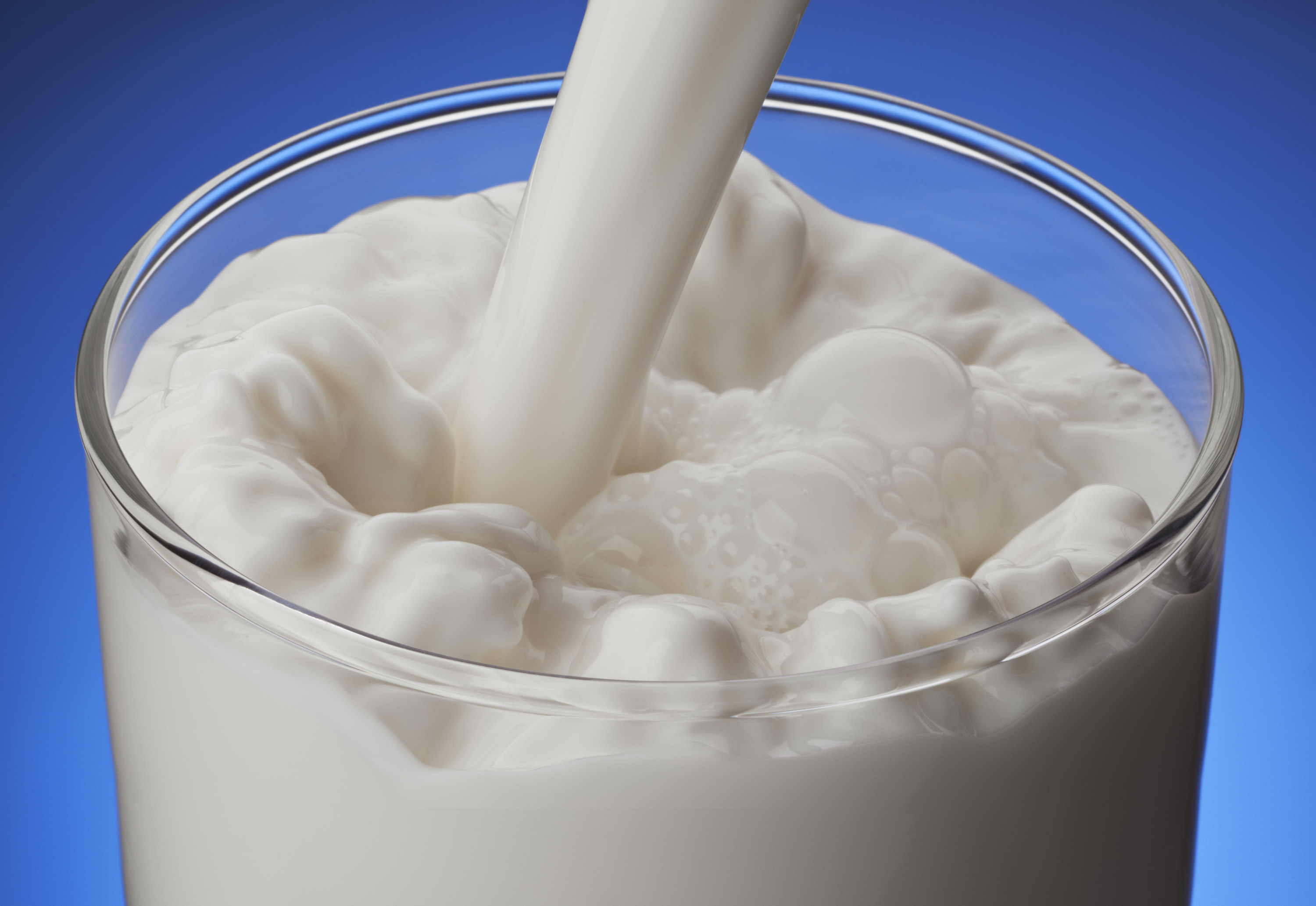Glass of milk being filled with milk. Picture is shot against a dark blue background.