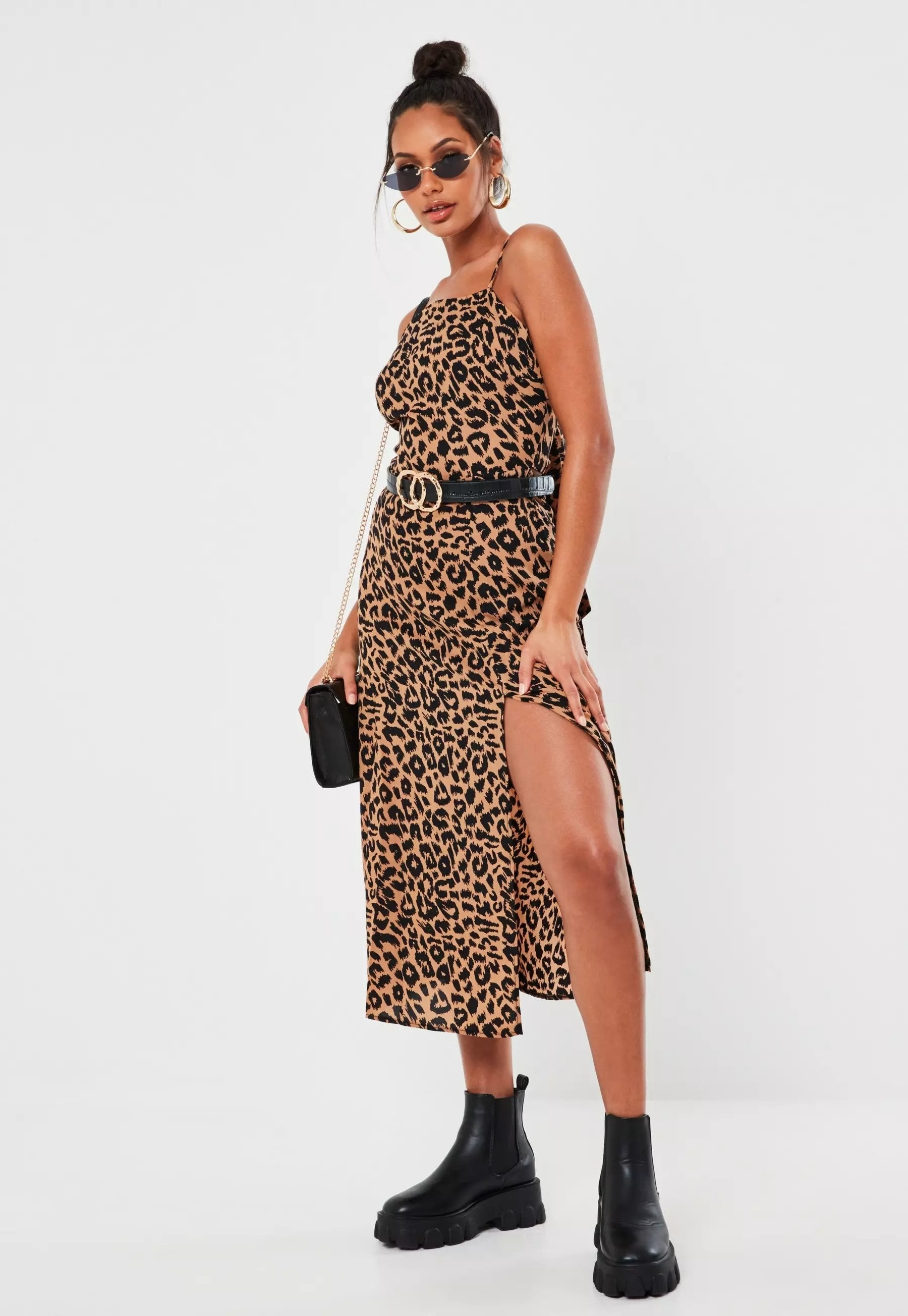 Model wearing leopard print dress