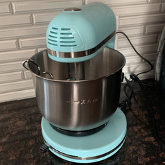 reviewer photo of the blue stand mixer