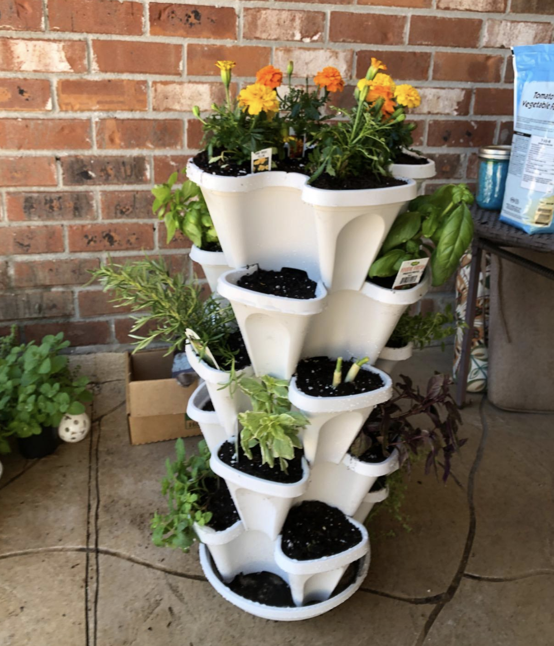 reviewer photo of the white planter