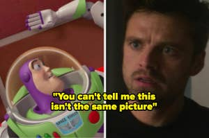 Buzz Lightyear and Bucky after losing their arms, with the text