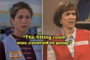 Side-by-side of Jennifer Aniston and Kristen Wiig working as store employees