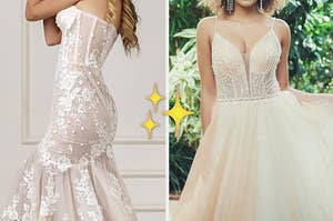 A mermaid wedding gown, a sparkle emoji, and an off-white wedding gown