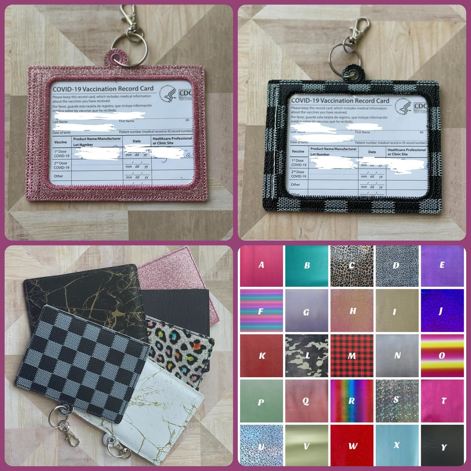Vaccine card holders in a variety of colors and prints with a small hole for a keychain loop