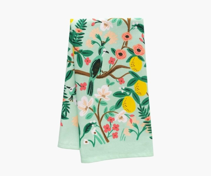 mint, green, white, pink, and yellow towel