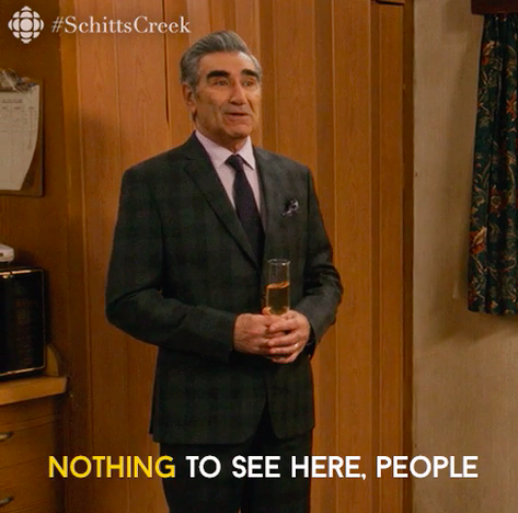"Eugene Levy saying ""nothing to see here, people"""