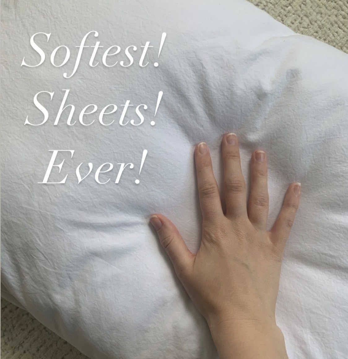 """buzzfeed editor touching white pillowcase captioned """"softest sheets ever"""""""