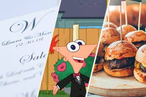 wedding food and menu and phineas