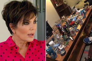 Kris Jenner looking shocked, and a messy coffee table