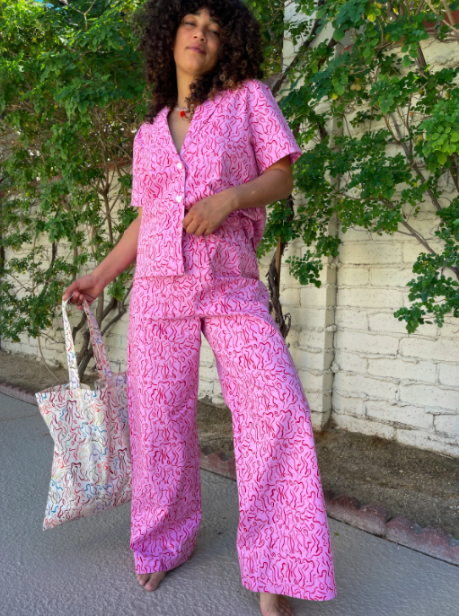 A model wearing the pajama set