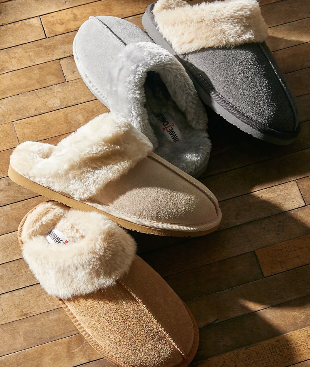 the grey and light brown slippers