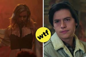 Betty and Jughead, both in weird moments from the show