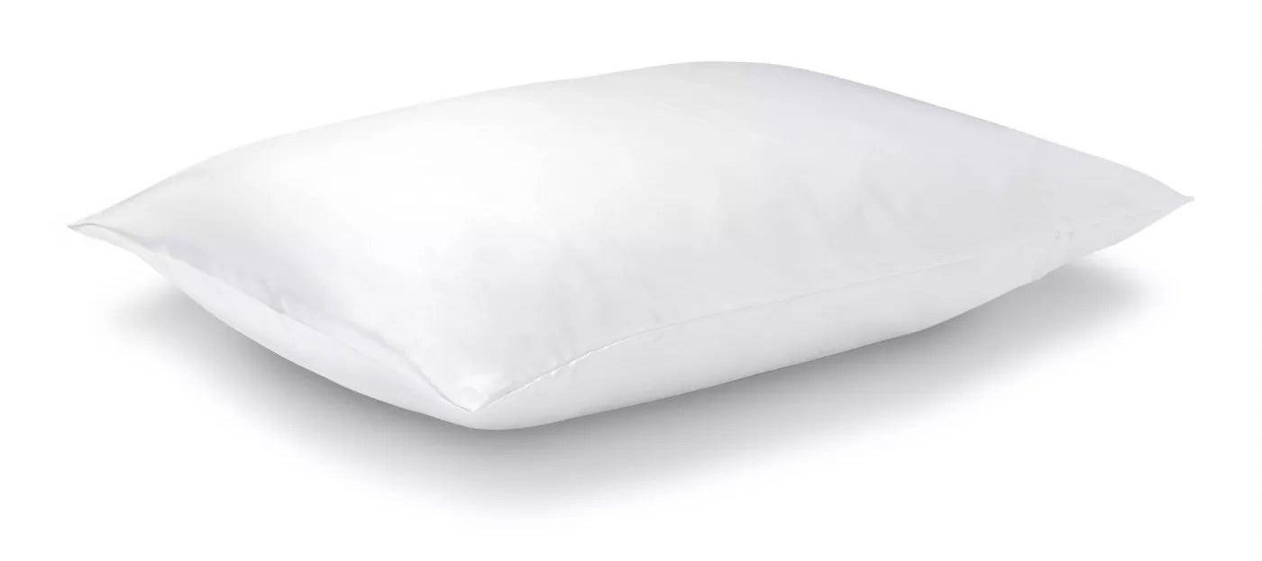 The white silk pillowcase on a pillow