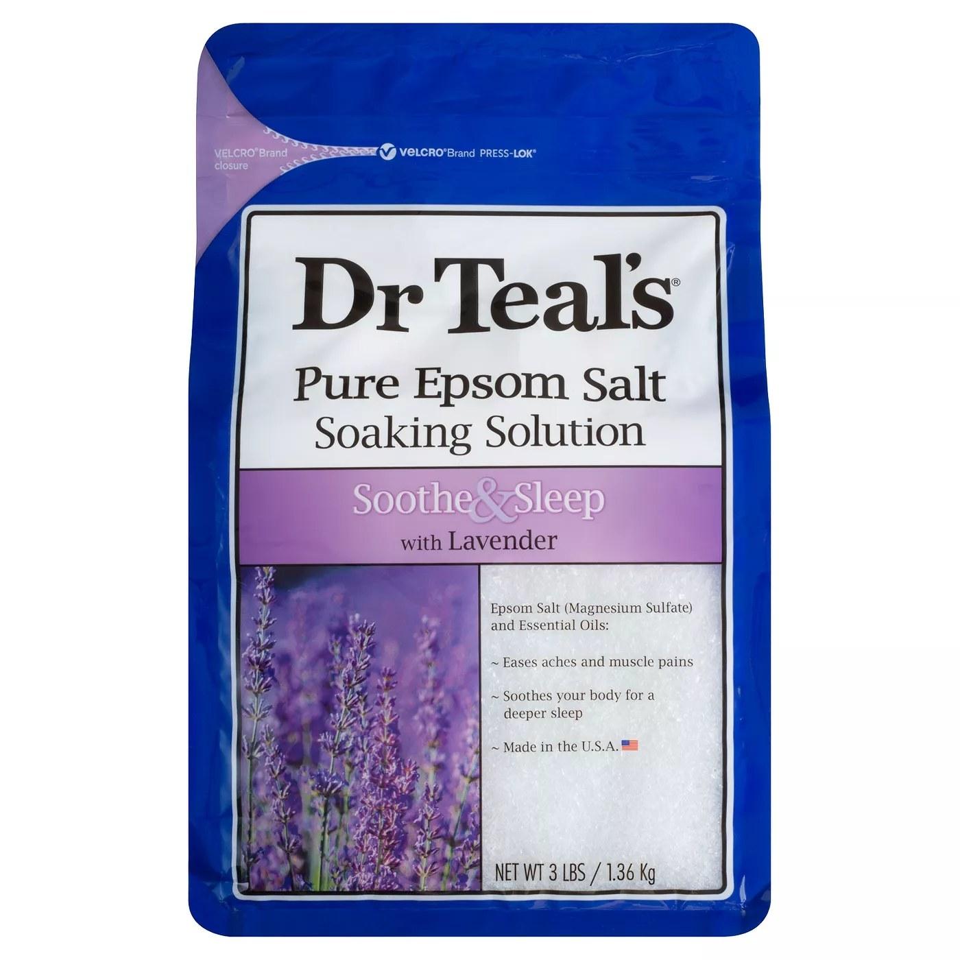 The blue package of epsom salt soaking solution