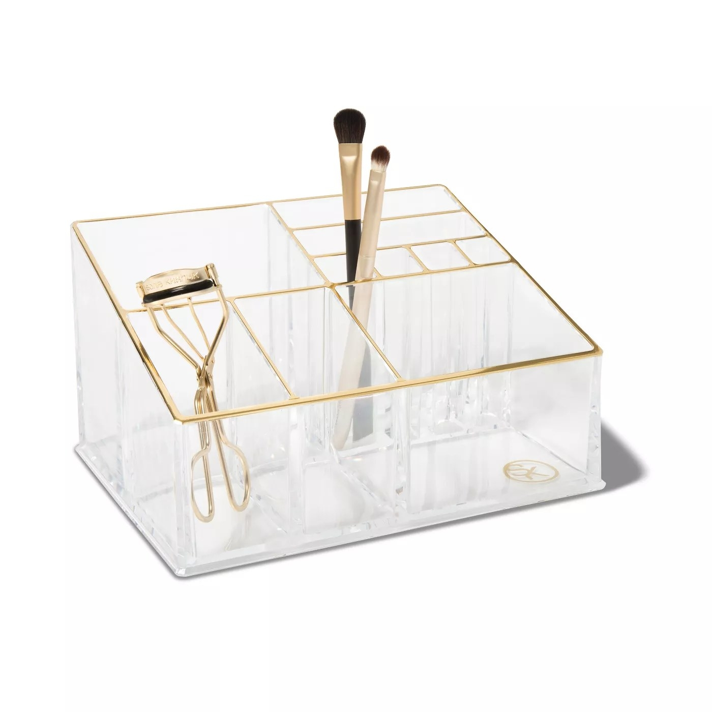 The clear makeup organizer with 10 separate compartments