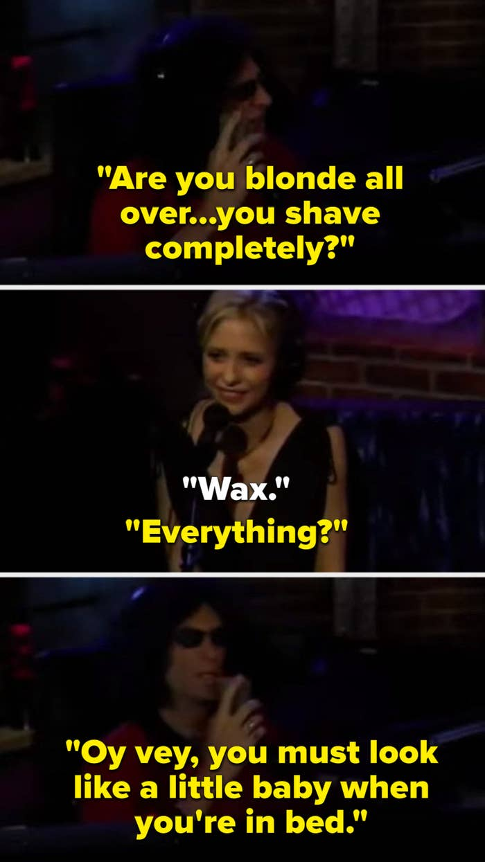 """Howard stern asking sarah if she """"shaves everything"""", sarah responding that she waxes, and howard saying she must look like a naked baby down there"""
