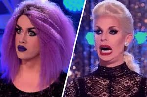 Adore Delano and Katya, both with shocked expressions