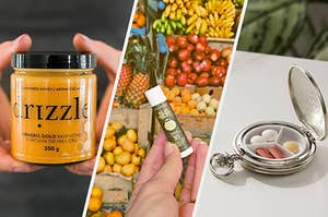 a person holding a container of honey in their hands, A person holding a tube of lip balm in the hand, An open pocket watch with pills organized into three sections