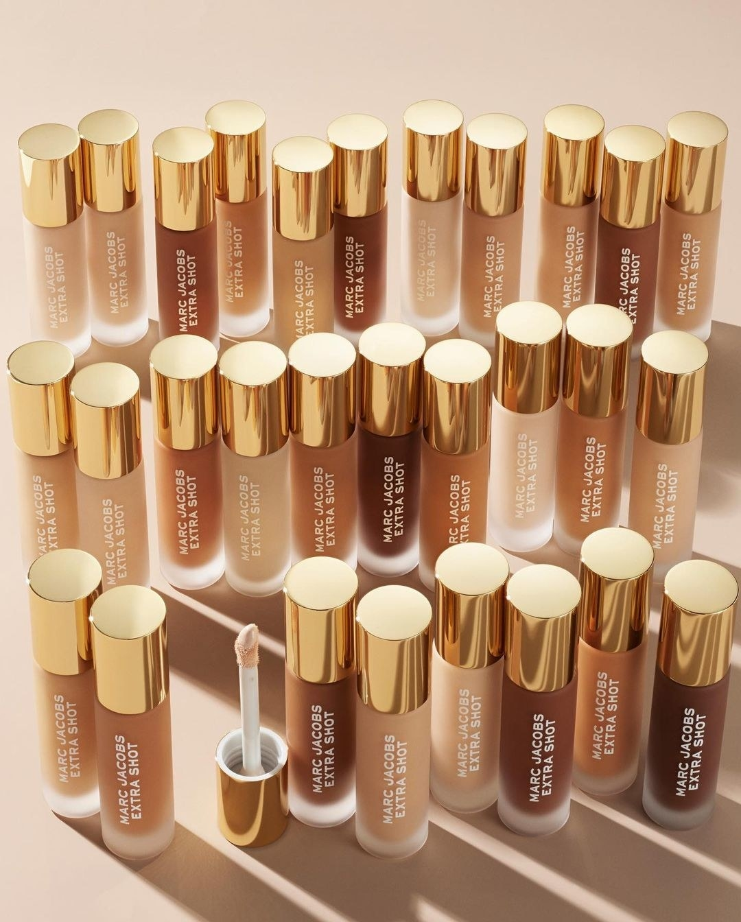 All the shades of the concealer arranged on a simple background