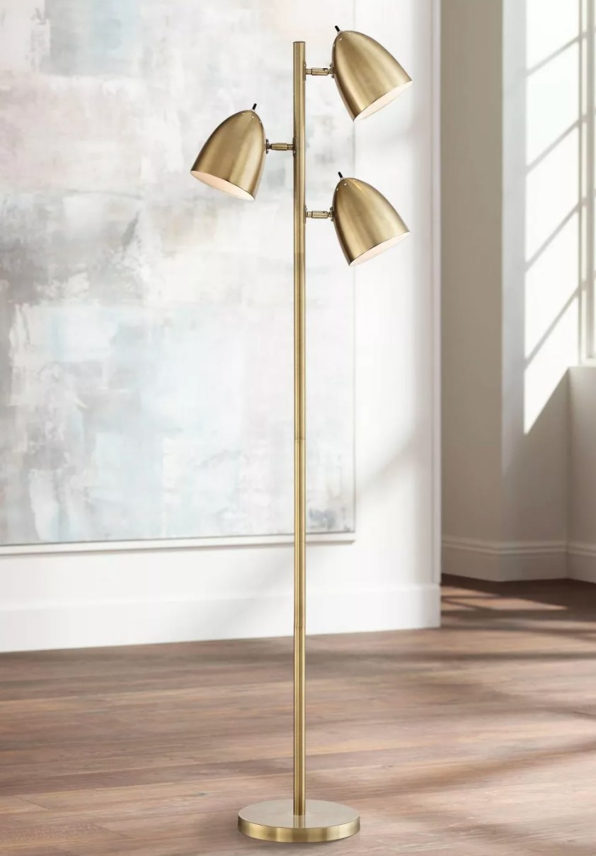 The brass floor lamp