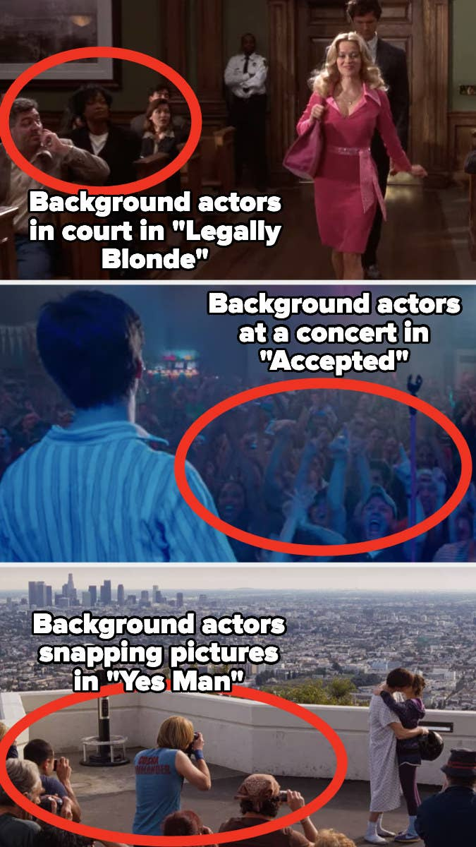 "Background actors circled in scenes from ""Legally Blonde,"" ""Accepted,"" and ""Yes Man"""