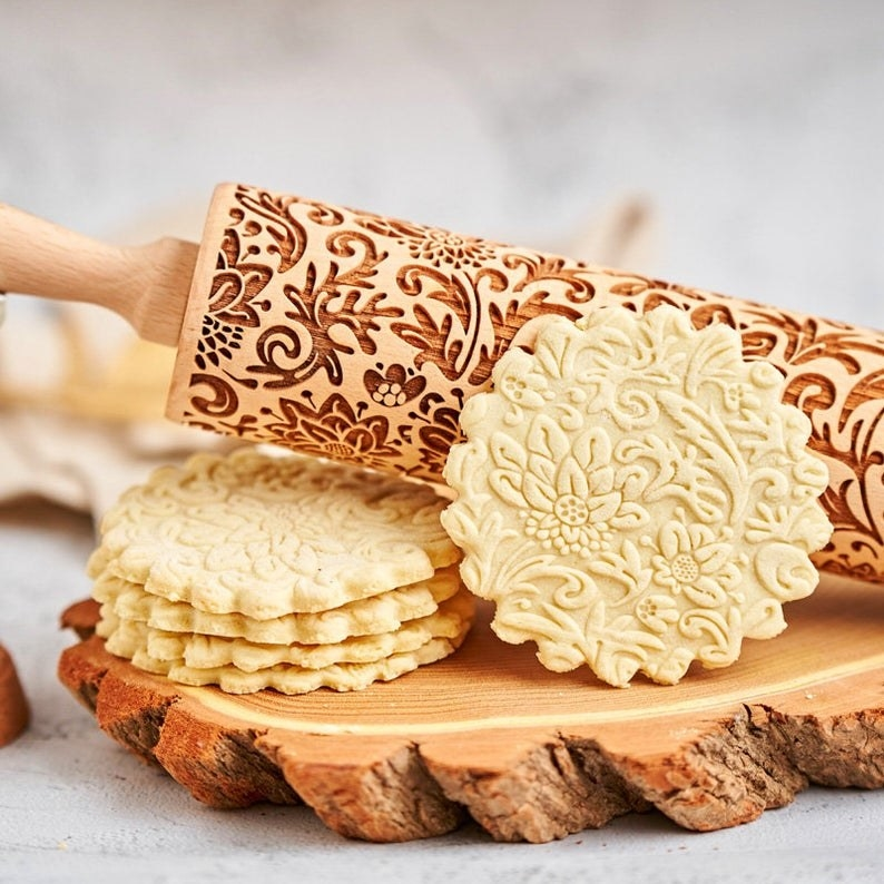the rolling pin and floral embossed cookies