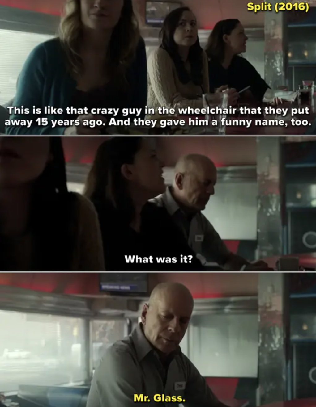 Bruce Willis's character at a diner