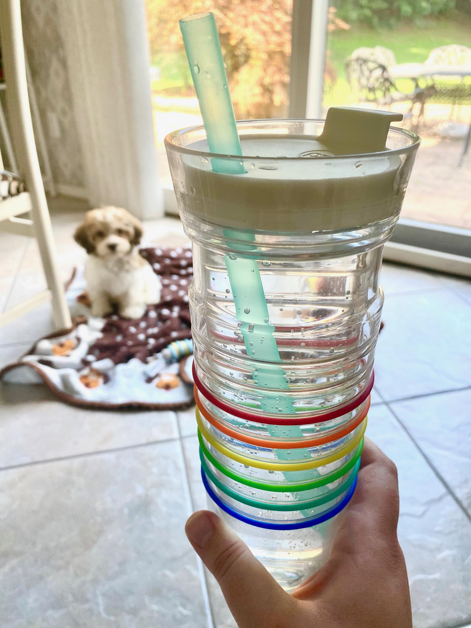 buzzfeed editor's clear water bottlr with rainbow colored bands and a teal straw