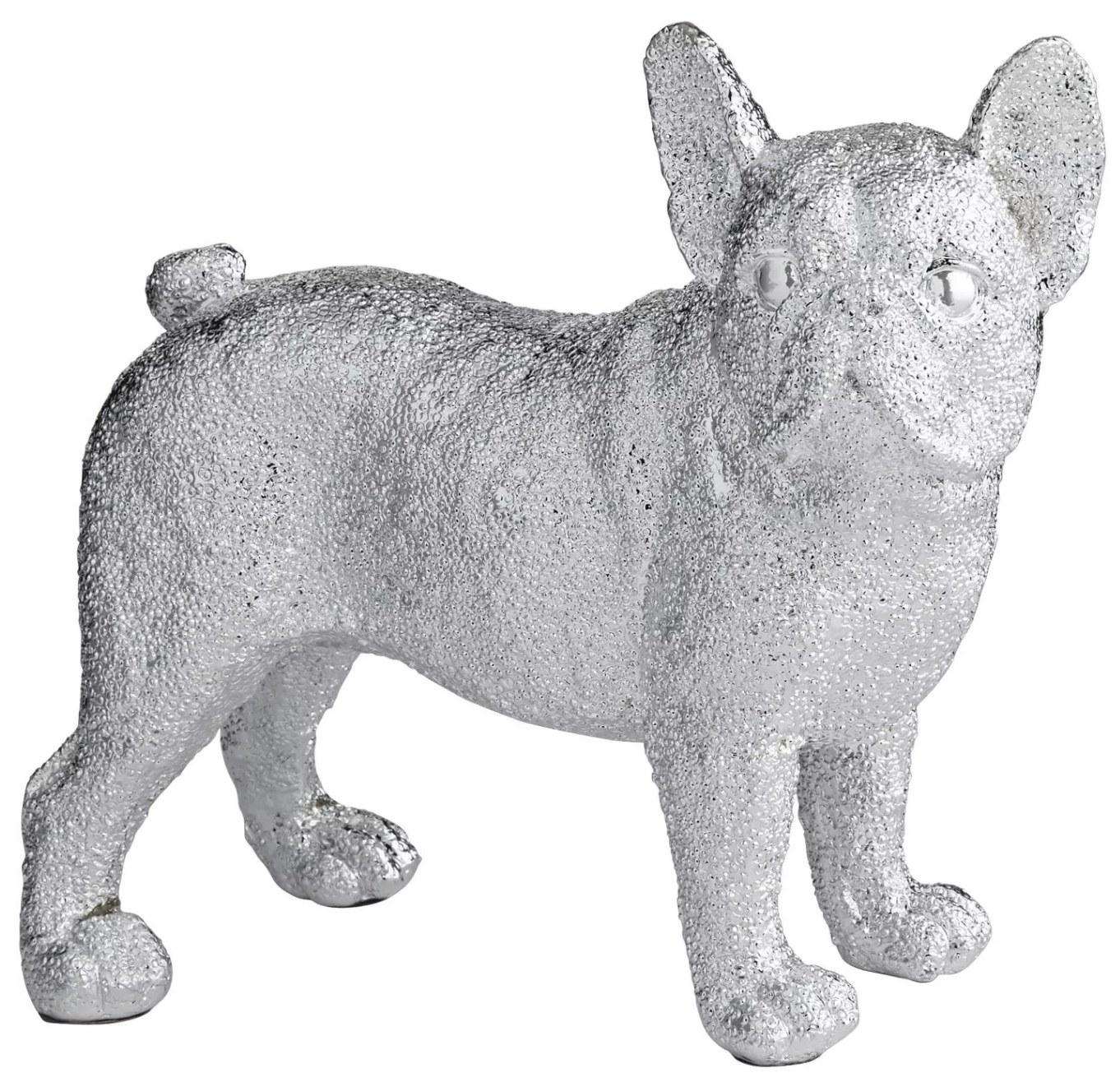 a silver sculpture of a bulldog