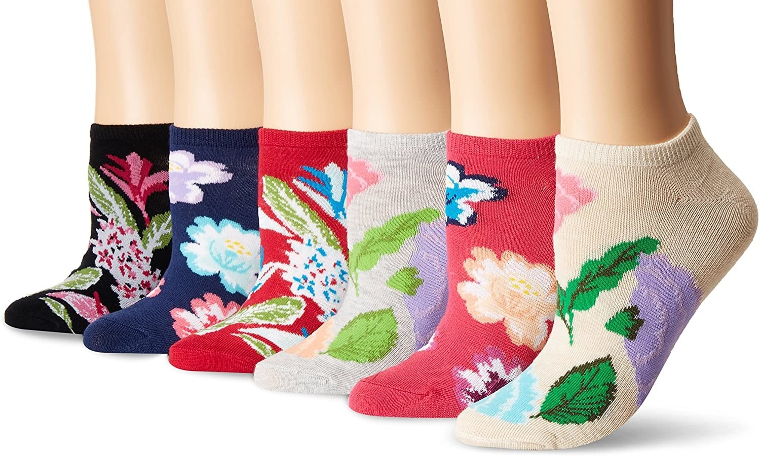 six pairs of the socks in different colors and florals