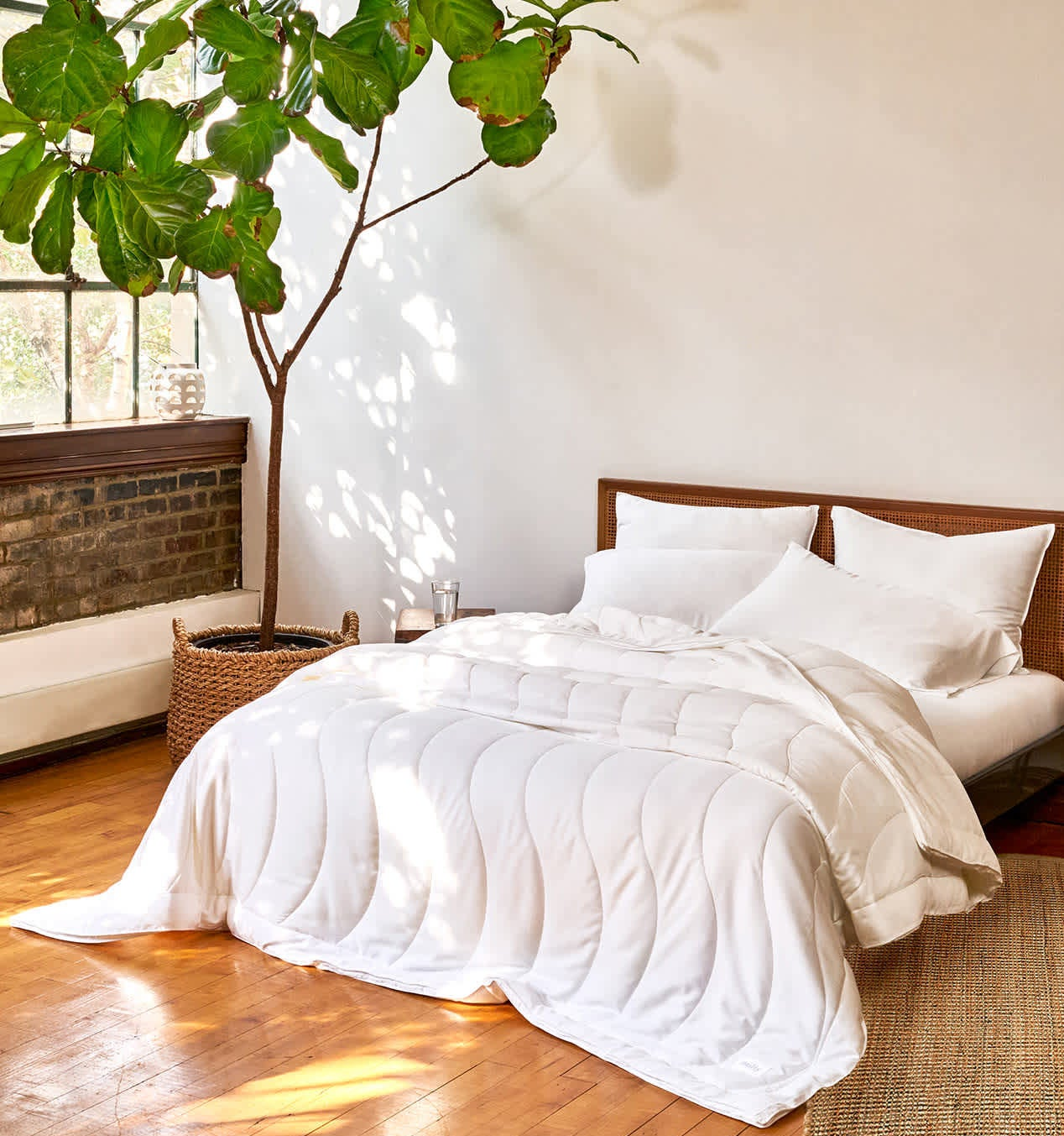 The comforter on a bed