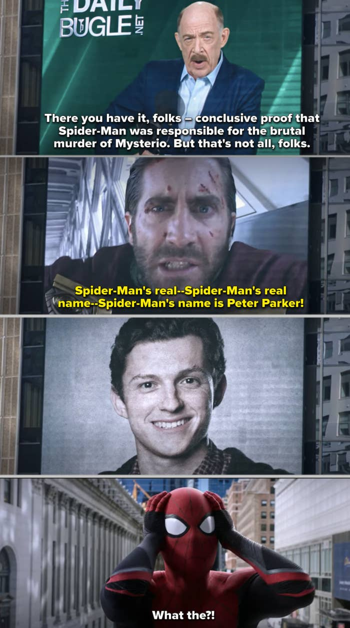 Mysterio revealing Spider-Man's identity