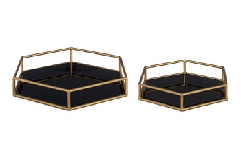 the two trays with black bases and gold accents