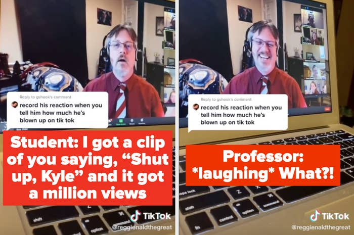 A student in online class telling her professor she took a video of him that has one million views