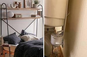 A bed shelf / A hidden toilet scrubber