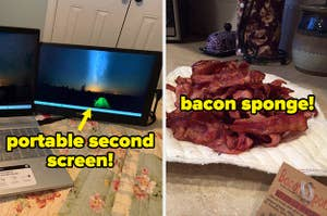 L: Portable screen attached to laptop R: Grease-absorbing paper towel holding a pile of bacon