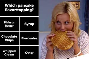 the question which pancake topping or flavor on the left and leslie knope eating a waffle on the right