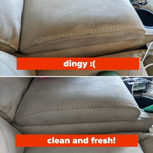 A couch before and after using the cleaner