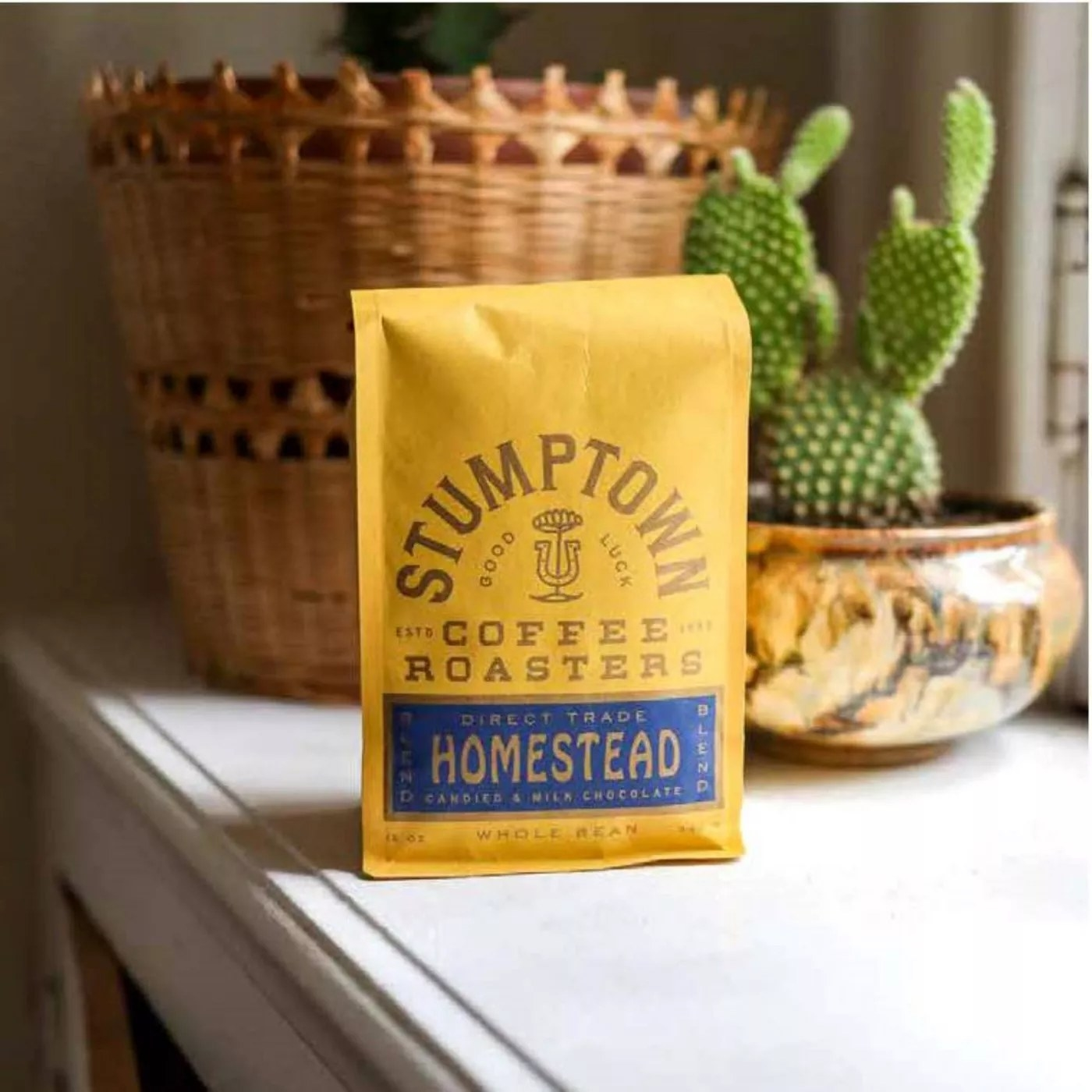 The yellow bag of Stumptown coffee on a counter