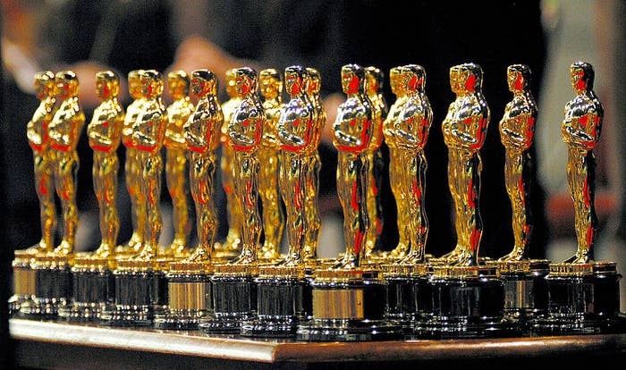 The 22 Oscars won by the Lord of The Rings sit on a table in front of the 3000 assembled fans that turned out to see director Peter Jackson and the Return of The King winners during Wellington city's Oscar celebration