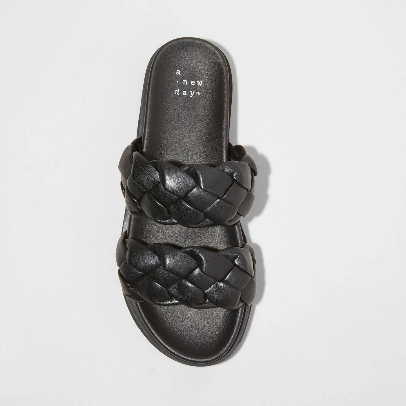 Black slip on sandals with two straps