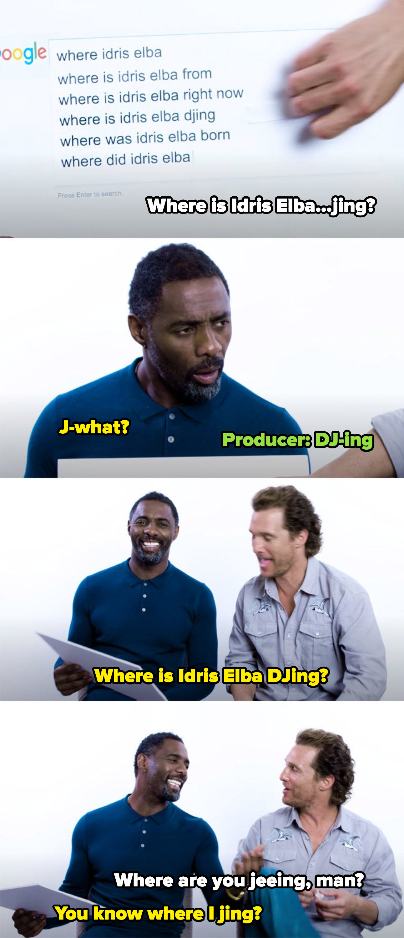 """Matthew reading a question about Idris """"jing"""" — looking confused — a producer clarifying that it says """"DJ-ing"""" and them laughing and joking about it"""