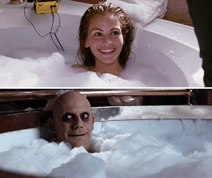 """Addams Family Values"" copying ""Pretty Woman"" by putting Uncle Fester in a bubble bath"