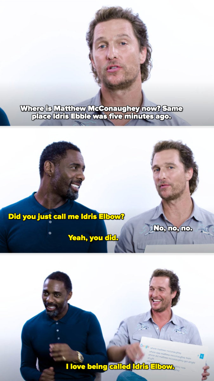 "Matthew calling Idris ""Ebble,"" Idris saying ""Elbow,"" and Idris saying he's called ""Idris Elbow"""